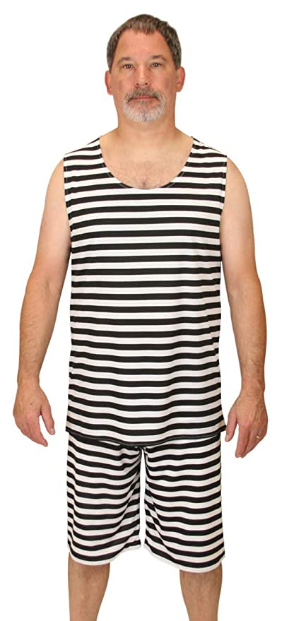 1920s Swimsuits- Women & Mens- History, Sew and Shop Historical Emporium Mens 1900s Striped Tank Bathing Suit $51.95 AT vintagedancer.com