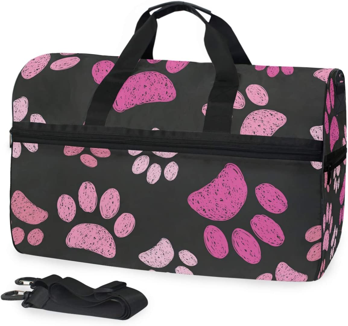 Travel Duffels Pink Paw Duffle Bag Luggage Sports Gym for Women /& Men