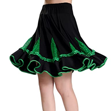 57cff3df3328 Saymequeen Women Ballroom Dancing Skirts Dress Latin Dance Square Dance  Skirt (3XL, Green)