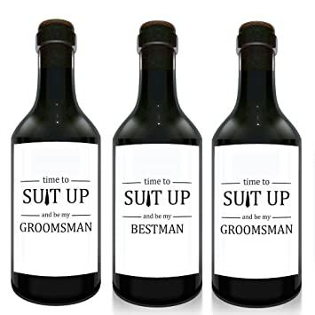 amazon com time to suit up mini wine bottle label stickers for