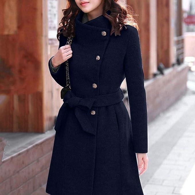 Yonglan Donna Caldo Cappotto Lungo Giacche Soprabito Parka Doppio Petto Cintura Outwear Windbreaker