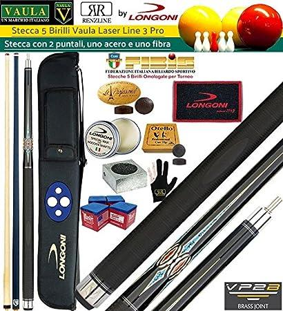 Longoni Vaula Laser Taco 2pz. cm.141,5 Pro 3, con doble punta arce y punta de fibra de carbono de billar mm.12. internacional 5 bolos, Incluye forro Longoni G LX, piezas de recambio,