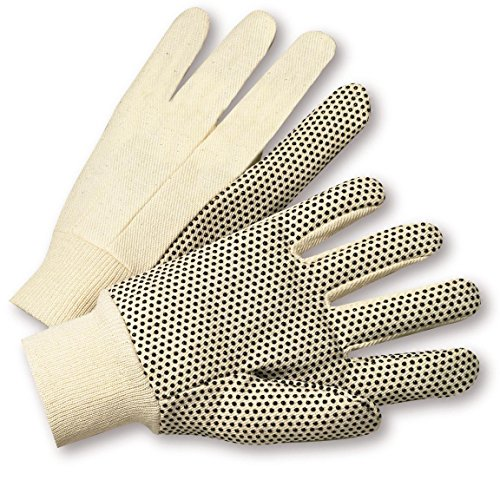 West Chester K01PDI Premium 10 oz. Cotton Canvas with PVC Dots Gloves, Large, White (Pack of 12)