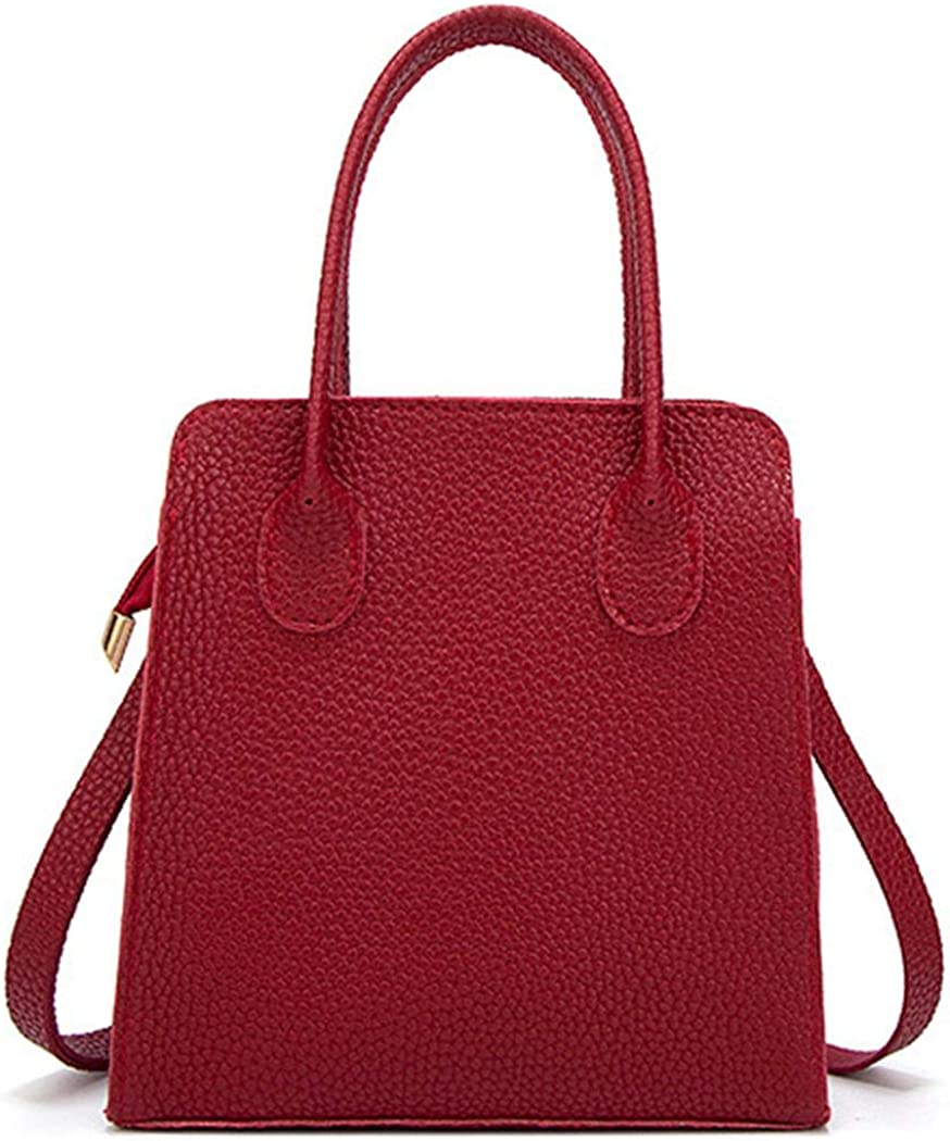 Kionme Women Fashion Leather Zipper Handbag Solid Shoulder Messenger Bag Purse Set Shoulder Bags