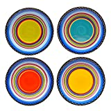 Tequila Sunrise 11 in. Multi-Colored Dinner Plate Set Southwest Inspired Design Durable Earthenware Dishwasher Safe of 4 Assorted Colors