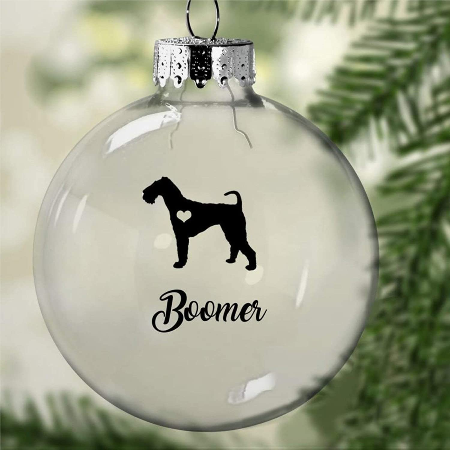 DONL9BAUER Christmas Balls Ornaments Airedale Terrier Hanging Ball for Xmas Tree Personalized Dog Lover Shatterproof Christmas Decorations for Holiday Wedding Party