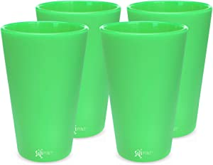 Silipint Silicone Pint Glass Set, Patented, Shatter-proof, Unbreakable Silicone Cup Drinkware (4-Pack, Glow in the Dark)