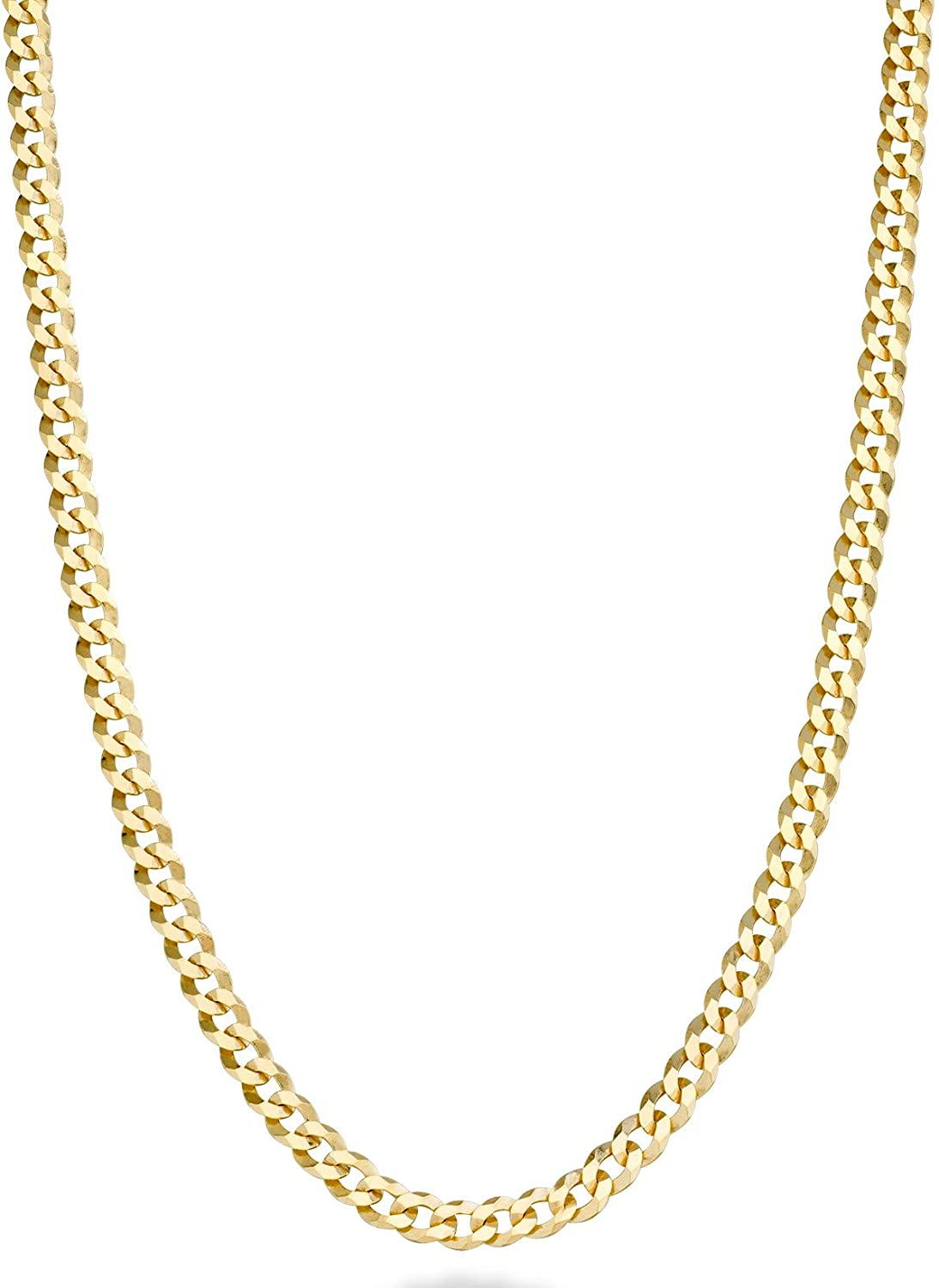 Miabella Solid 18k Gold Over 925 Sterling Silver Italian 3.5mm Diamond Cut Cuban Link Curb Chain Necklace for Women Men, 13+2, 16, 18, 20, 22, 24, 26, 30 Inch Made in Italy