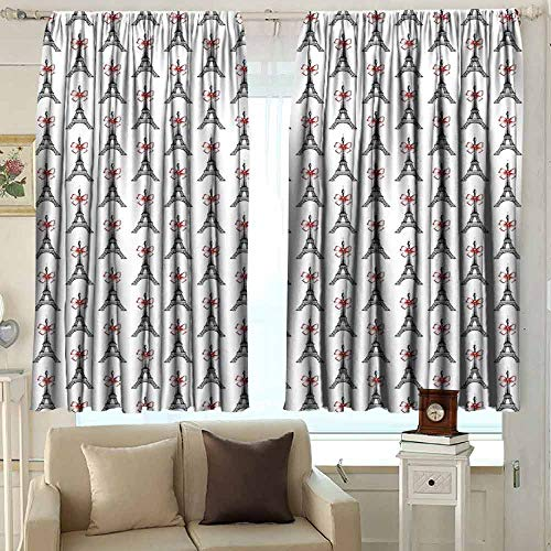 XXANS Curtain Tailored,Eiffel,Simple Stylish,W63x72L Inches Ruby Black White