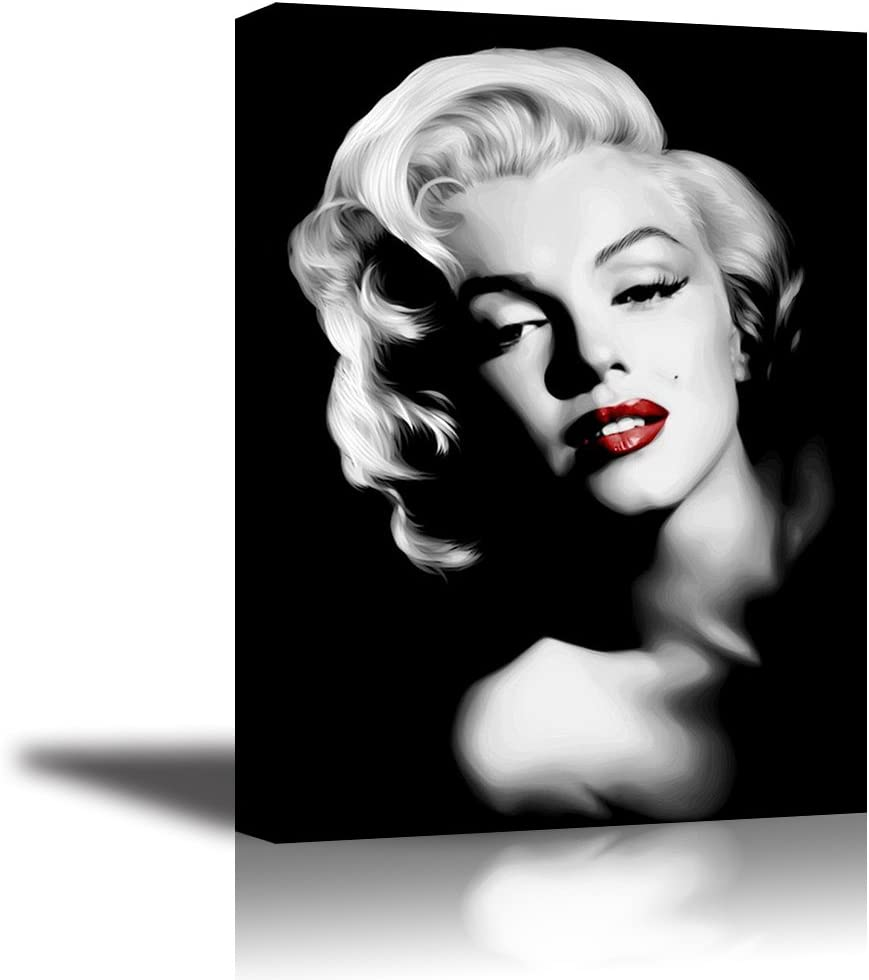 "Monroe Canvas Wall Art, PIY Red Lips Monroe Wall Decor, 1 Piece Black and White Canvas Prints for Bedroom, 1"" Deep Frame, Ready to Hang, Water Proof Artwork Decal"