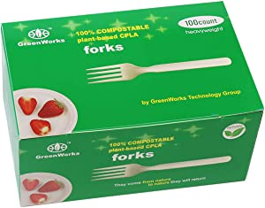 """GreenWorks 100% Compostable CPLA Forks,100 Count 7"""" Heavyweight Disposable Biodegradable Bio-Based Plastic Cutlery Fork"""