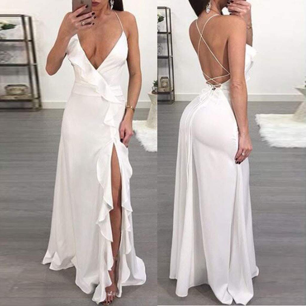 ZOMUSAR 2019 Fashion Women's Fashion Solid Sexy Ruffle Blackless Sleeveless Irregular Dress White by ZOMUSAR (Image #2)