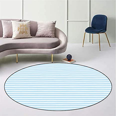 Harbour Stripe Indoor Round Area Rug Wavy Soft Horizontal Old Fashion Pattern Geometric Lines Artful Image Anti Skid Floor Cover Home Bedroom Carpet Diameter 31 Light Blue White Kitchen Dining