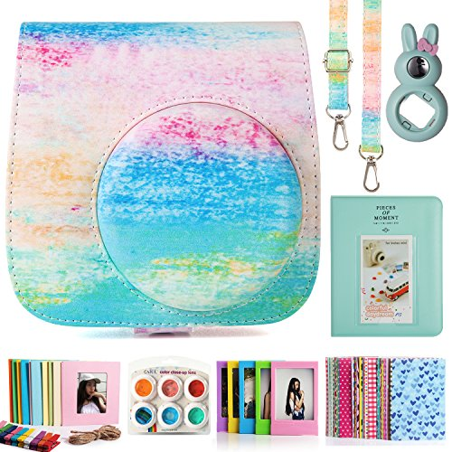 CAIUL Compatible Fujifilm Instax Mini 9 Film Camera Bundle with Case, Album, Filters & Other Accessories for Fujifilm Instax Mini 9 8 8+ (Rainbow Mist, 7 Items)