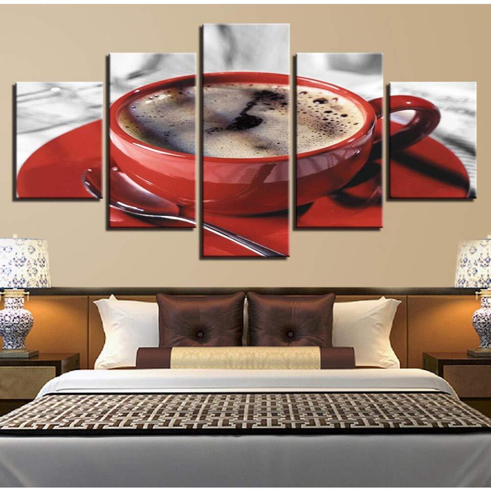 DYDONGWL Moderno Cartel Lienzo Cuadros Cartel Moderno Modular 5 Unidades Taza de Café Cuchara Marco Pinturas Salón Decoración Restaurante Arte de La Pared Impresiones af133a
