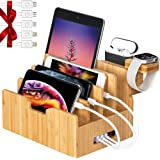 Bamboo Charging Station forMultipleDevices with Integrated iWatch & AirPod Stand, Desktop Charging Docking Station Organize