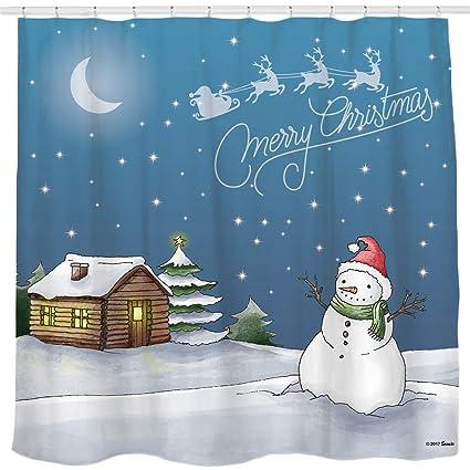 Winter Snow Cartoon City Full Moon Shower Curtain Hooks Bathroom Accessory Set