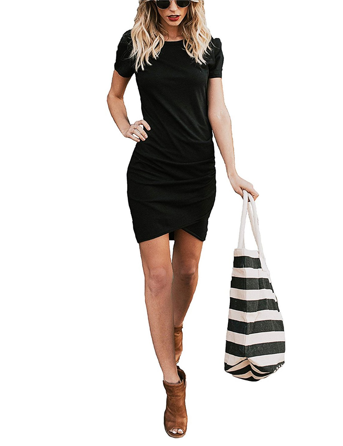 CAIYING Womens Summer Casual Solid Ruched Short Sleeve T-Shirt Midi Dress (Black, M)
