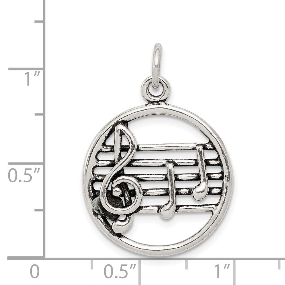 0.9IN long x 0.8IN wide Sterling Silver Antiqued Music Staff Charm
