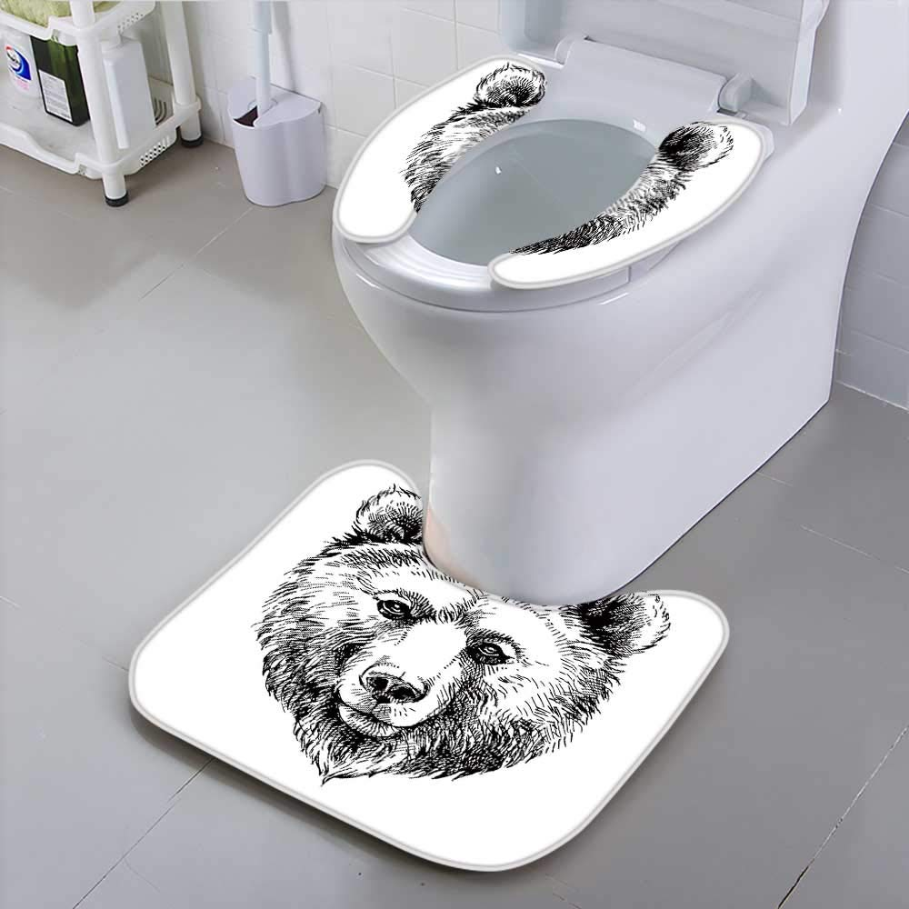 HuaWu-home Universal Toilet SeatHand Drawn Brown Bear Animal Safety and Hygiene
