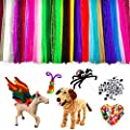 Pipe Cleaners 500pcs Chenille Stems Craft Set,Including 300 Pcs 30 Colors Pipe Cleaners, 100 Pieces 5 Size Pom Poms, 100 Pieces 5 Size Wiggle Googly Eyes