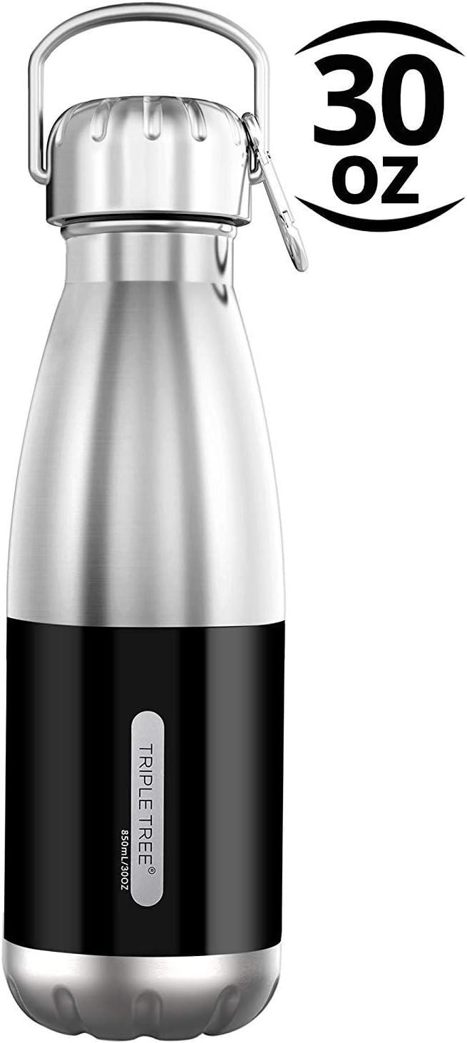 TRIPLE TREE Botella de agua, Botella de agua de acero inoxidable, Botella con aislamiento de vacío de doble pared 850ML Mantiene las bebidas frías y calientes a prueba de fugas BPA Free Design para co