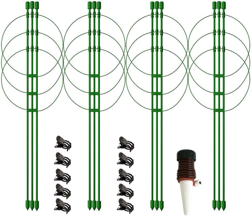 """4 Pack 18"""" Plant Cages Supports with Adjustable Rings, 10 Plant Clips and 1 Self Watering Spike, Garden Tomato Cages, Balcony Plant Support Stakes,Plants Round Hoops Cage for Tomato, Rose, Vine"""