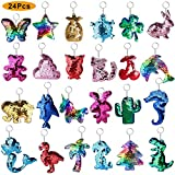 ONESING 24 Pcs Sequin Keychain Flip Sequin Keychain for Mermaid Tail Cactus Clover Star Cat Animals Shape Party Supplies for Kids Adults Party Events Gift 24 Distinctive Patterns
