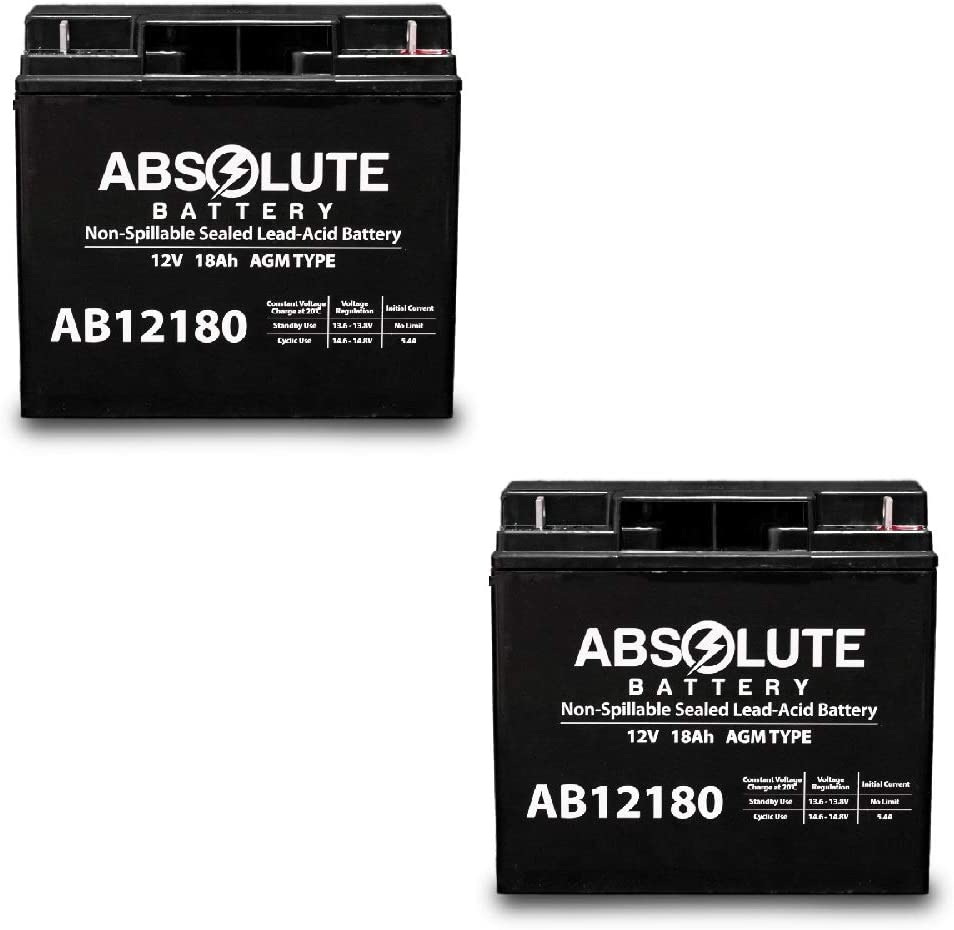 2 Pack AB12180 12V 18AH Battery for Wheelchair Invacare Lynx SX-3 P7E