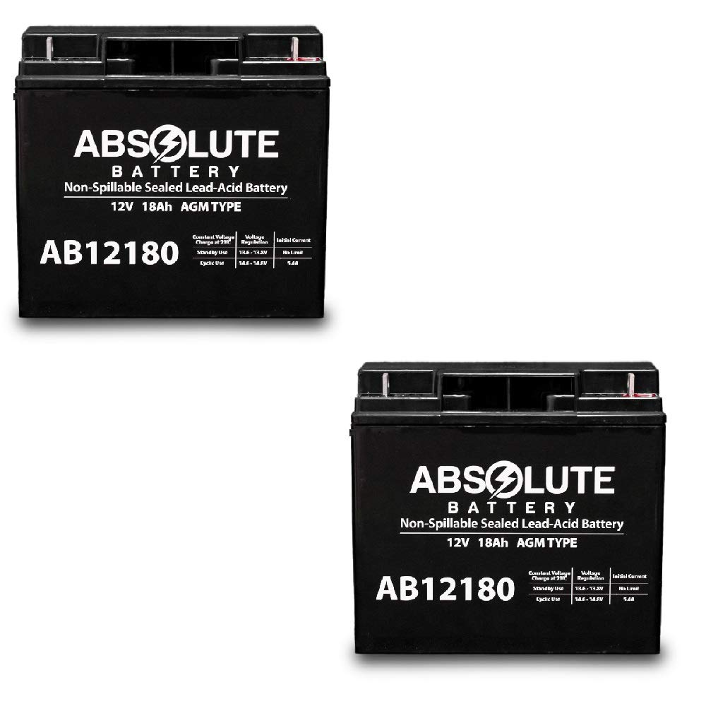 2 Pack AB12180 12V 18AH Battery for Drive Medical Phoenix HD for Phoenix Power Scooter by Absolute Battery