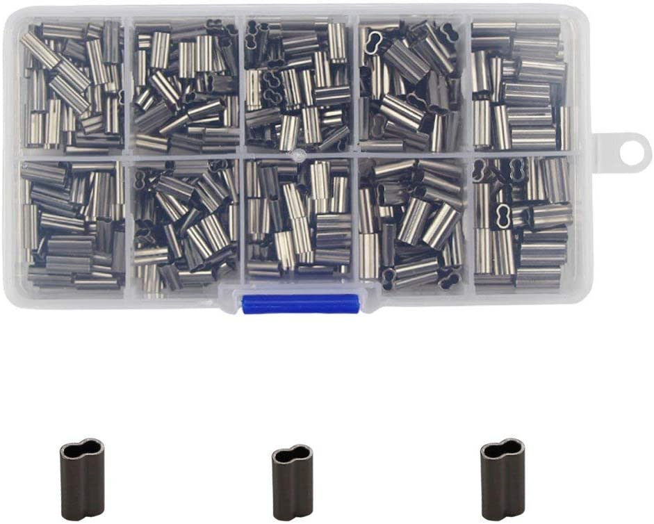 600pcs Fishing Wire Leader Crimps Fishing Line Tube Sleeves Tube Connector