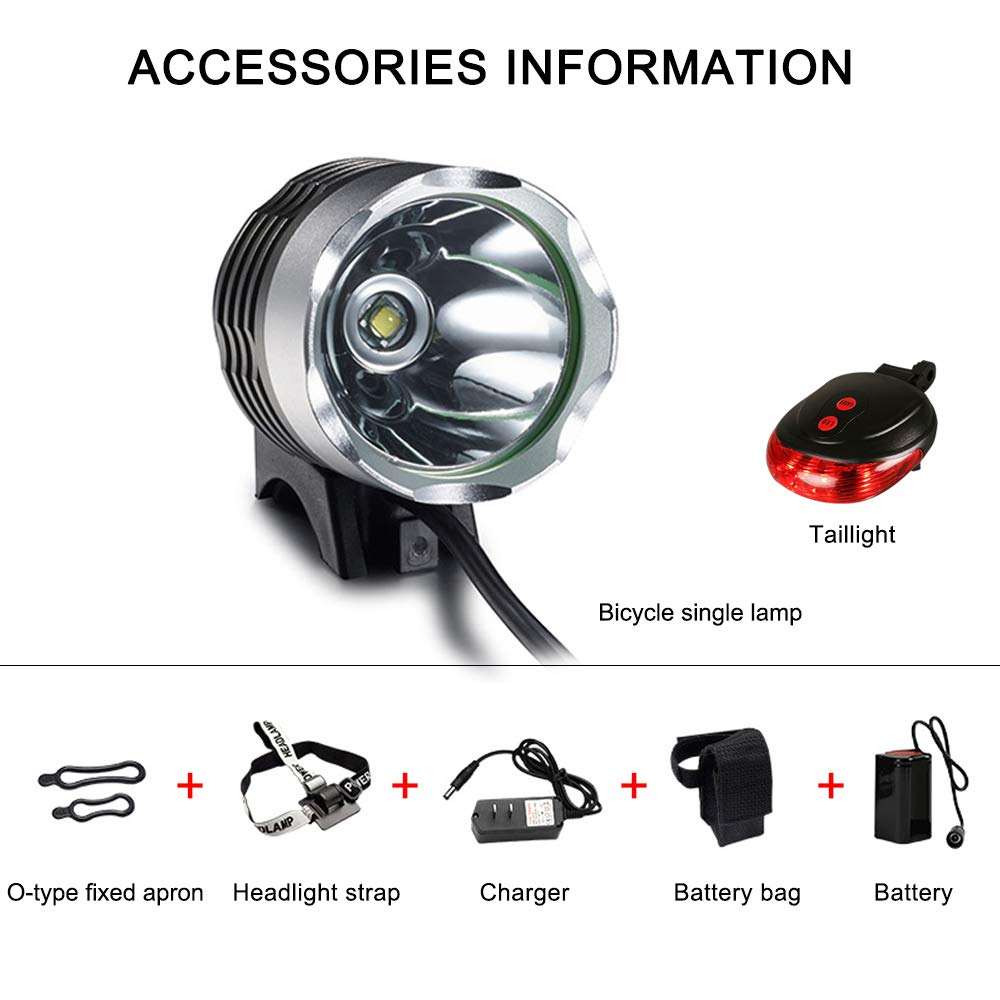 okaccessories Bicycle Light Bike Light Set Rechargeable Headlights Mountain 1200 Lumens Super Bright Waterproof Safety T6 LED Light for Cycling with 5200 mAH Battery