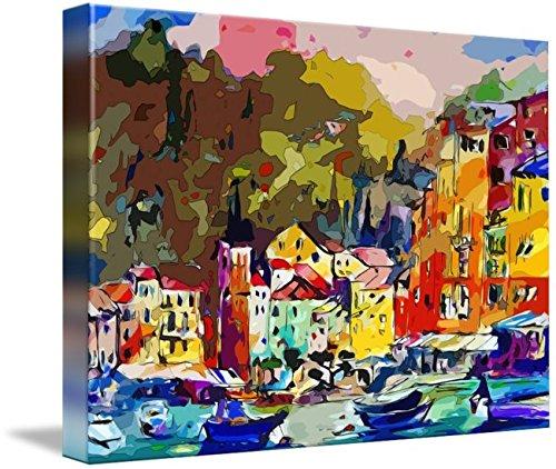 (Imagekind Wall Art Print entitled Portofino Italy Modern Mixed Media Art by Ginette Callaway | 10 x 7)