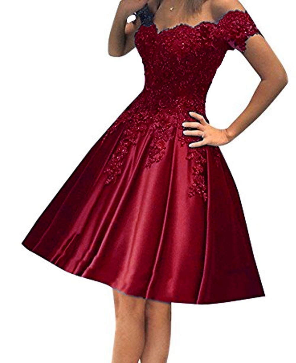 ee5259a3780 Scarisee Women s A-line Off-The-Shoulder Lace Appliqued Prom Homecoming  Dresses Formal Cocktail Party Gowns Knee-Length Burgundy 10