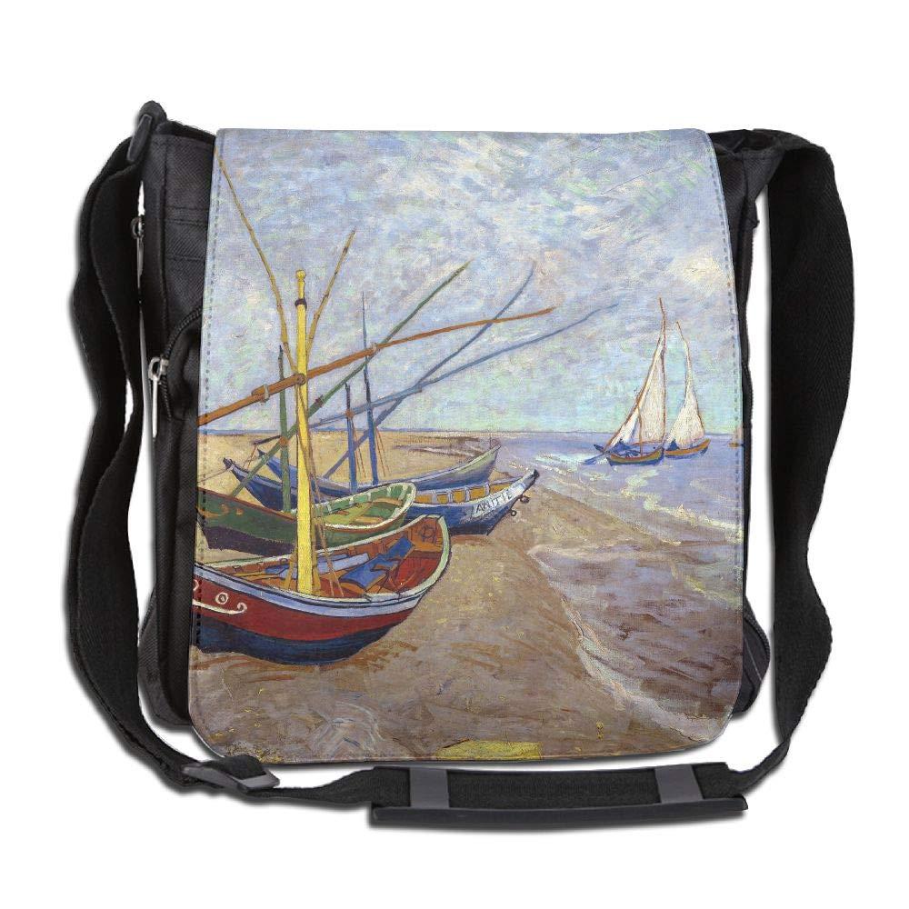 SARA NELL Messenger Bag,Van Goghs Beach And Sailboat Oil Painting,Unisex Shoulder Backpack Cross-body Sling Bag