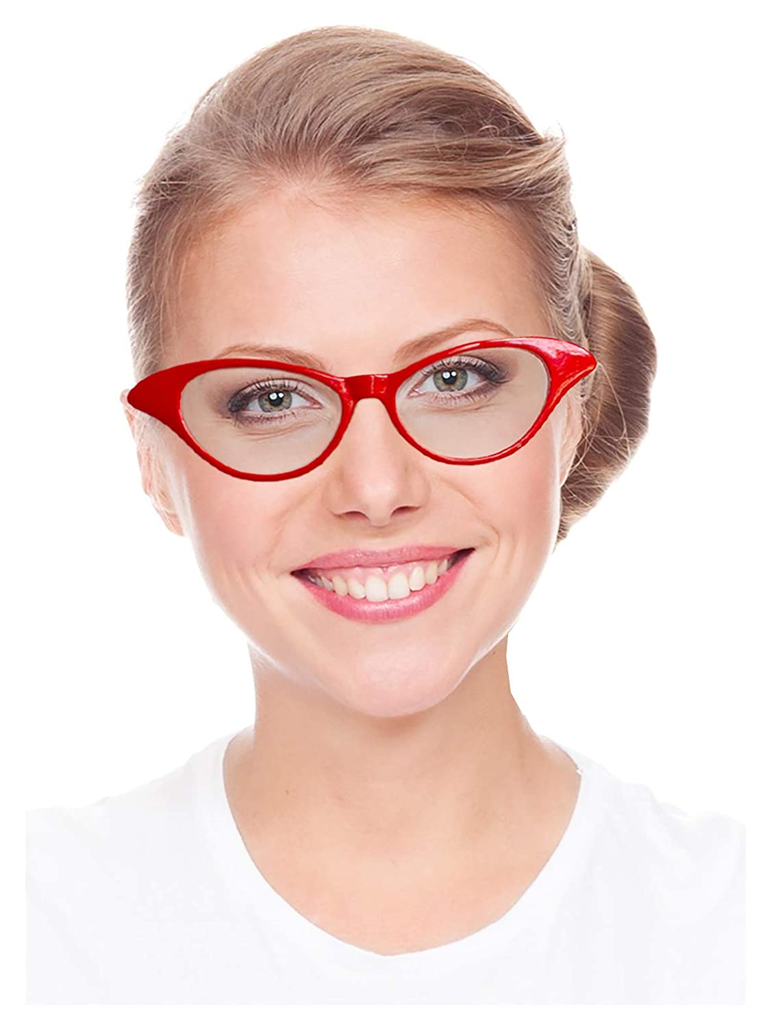 d31cfc7ad03 Amazon.com  Costume Adventure Red Cat Eye Costume Glasses 50s Retro   Clothing
