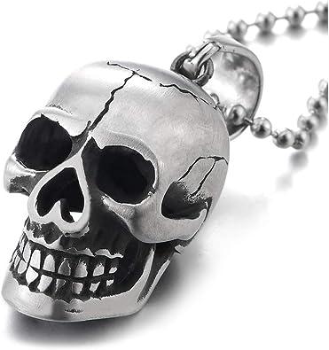 Hommes Vintage Punk Skull Head Collier Pendentif en Acier Inoxydable Chaîne Lien Bijoux