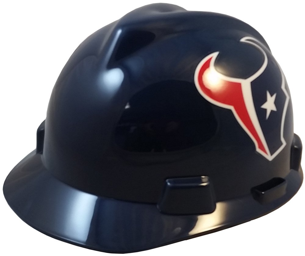 MSA NFL Ratchet Suspension Hardhats with Hard Hat Tote - Houston Texans Hard Hats by MSA