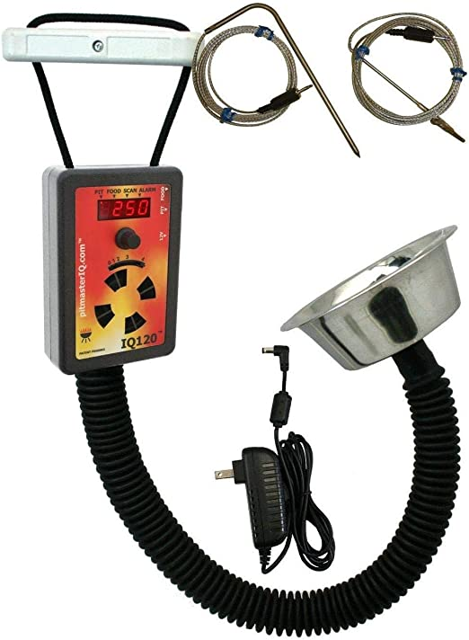 IQ120 BBQ Temperature Regulator with Standard Pit Adapter for Many BBQ Smokers - A Cheaper Option