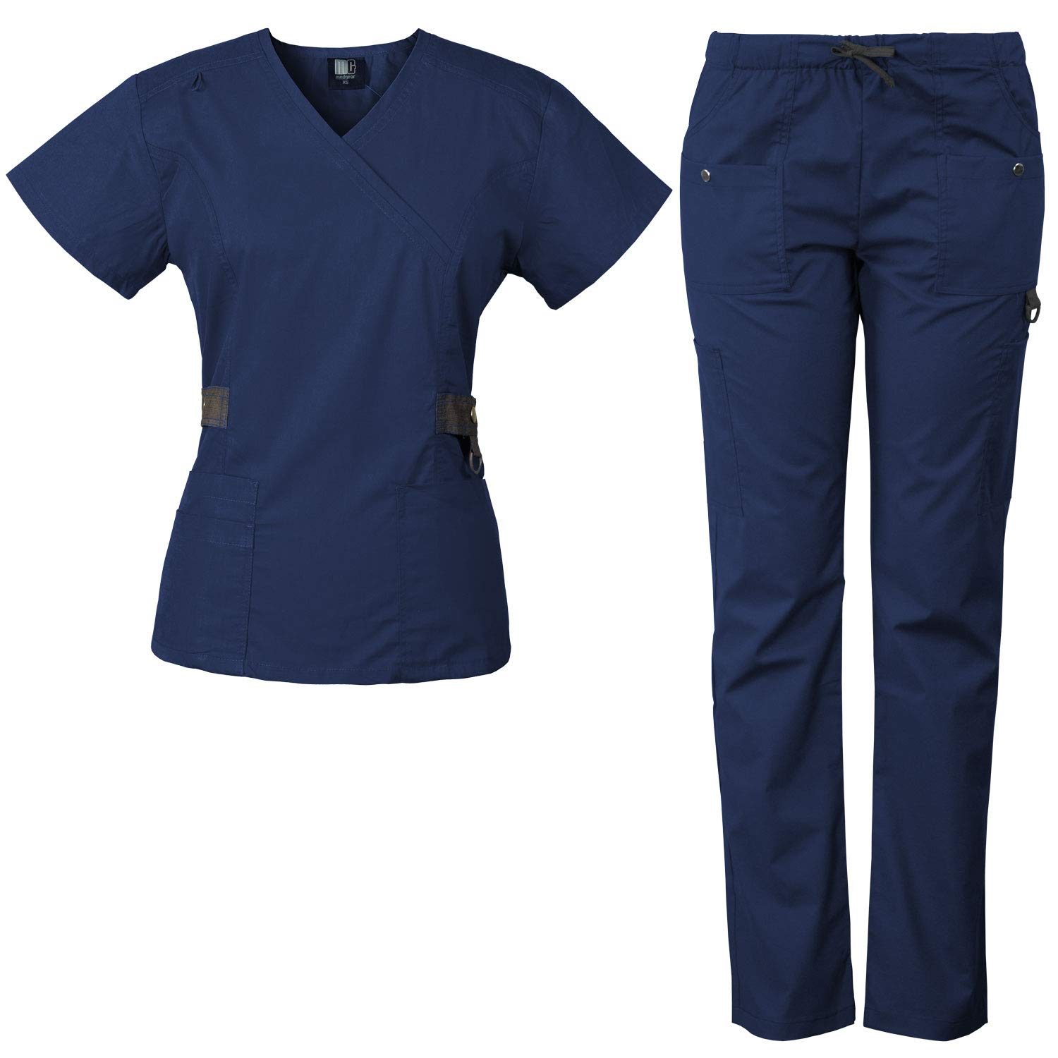 Medgear 12-Pocket Women's Scrub Set with Silver Snap Detail & Contrast Trim (Navy, 2XL)