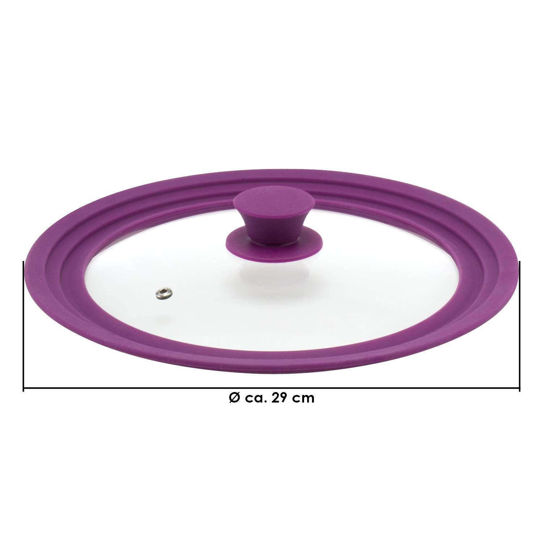 bremermann/® Coperchio Universale in Vetro con Bordo in Silicone Medio 24//26//28 cm Verde