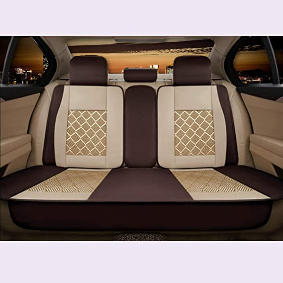 Car Seat Covers Seat Full Set Universal Compatible Airbags Front & Rear Breathable Comfort Linen Protector Cushion Color : Beige