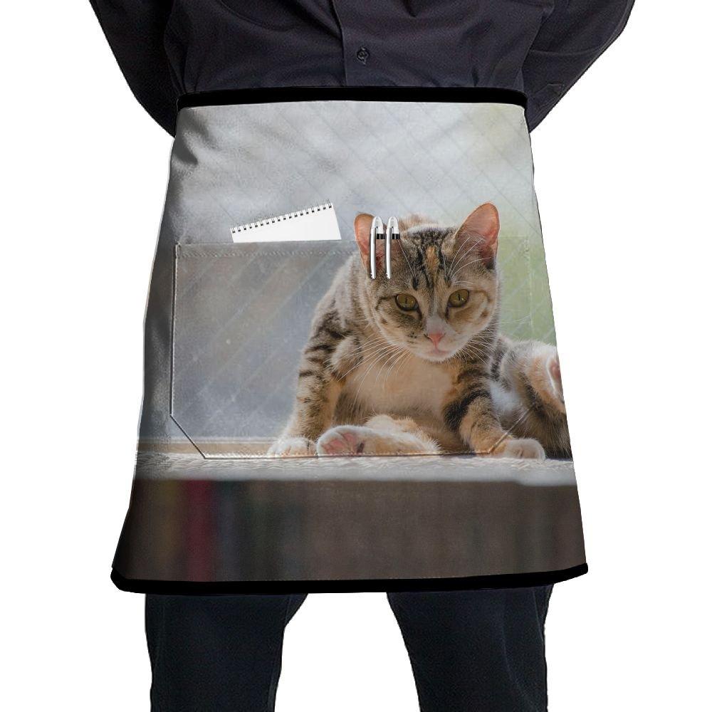 Kjiurhfyheuij Half Short Aprons Cat Sitting Window Pet Waist Apron with Pockets Kitchen Restaurant for Women Men Server