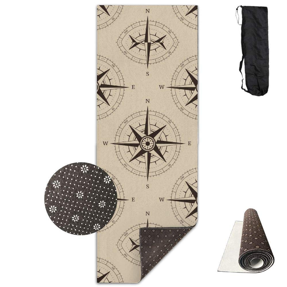 70inch Long 28inch Wide Comfort Velvet Yoga Mat, Navigation Compass Mat Carrying Strap & Bag