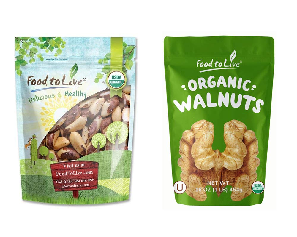 Organic Nuts Bundle with Organic Brazil Nuts, 1 Pound and Organic Walnuts, 1 Pound - Raw, No Shell