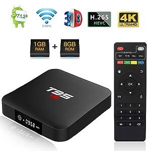 Android TV BOX, T95 S1 TV BOX 1GB RAM/8GB ROM Android 7.1 Amlogic S905W Quad Core Soporte 2.4Ghz WiFi H.265 4K HDMI DLNA Mini TV BOX