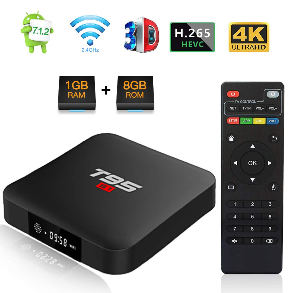 Android 7.1 TV Box, T95 S1 Smart Internet TV Box Amlogic S905W Quad Core 1GB/8GB with Digital Display HDMI Ultra HD 4K Ethernet 2.4GHz WiFi H.265 Video Decoder by TUREWELL