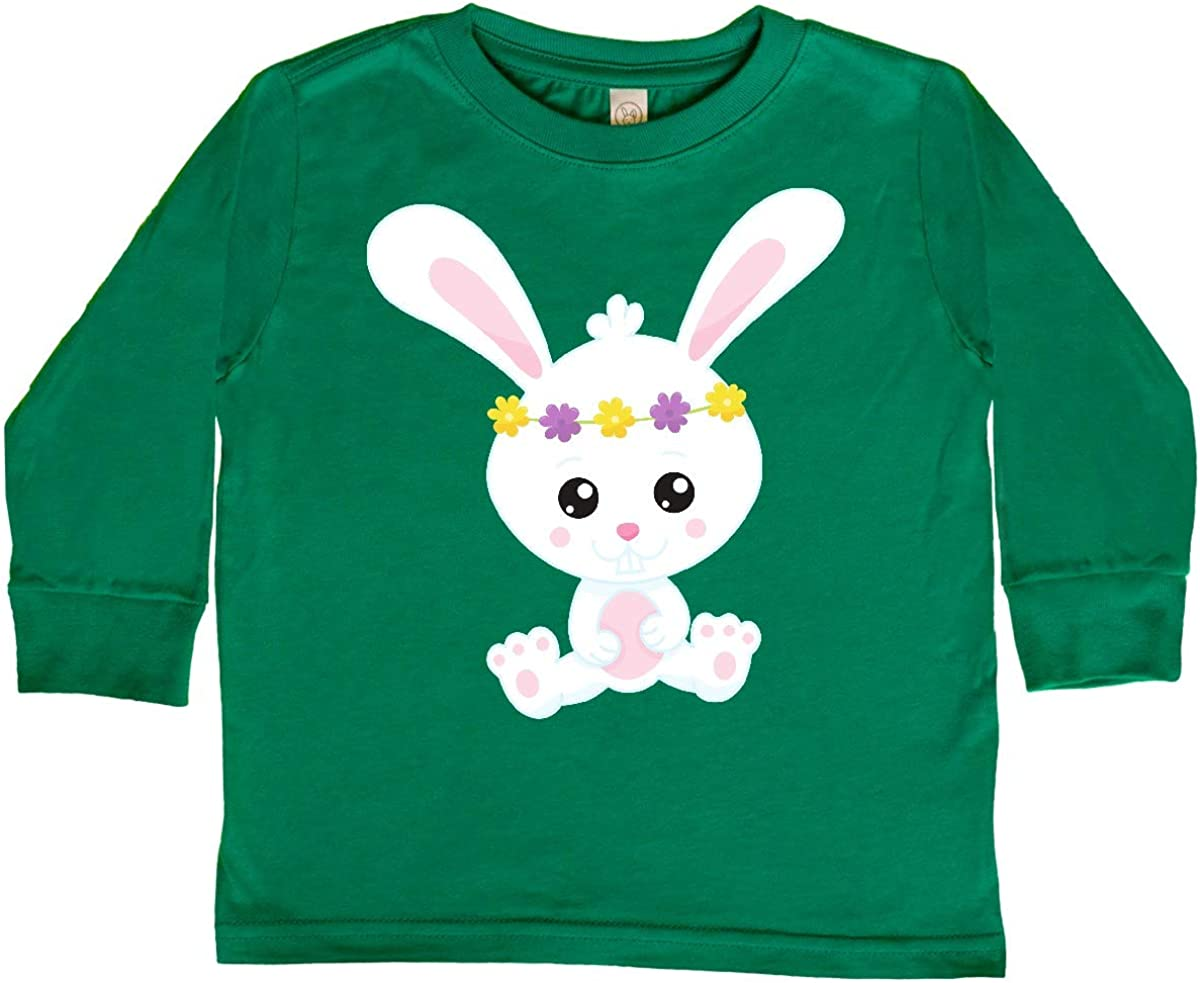 White Bunny inktastic Cute Bunny Bunny with Flower Toddler Long Sleeve T-Shirt