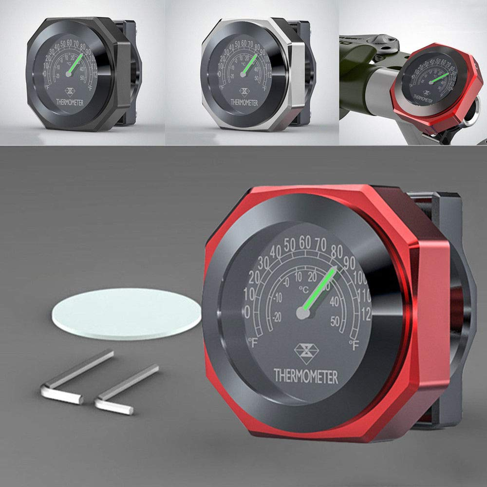 FidgetFidget Motorcycle Thermometer Climate Weather Temperature Display Analogue Red