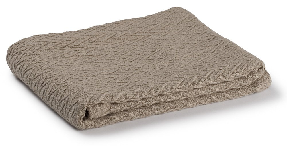 Charisma 100% Solid Cotton Weave Blanket (Twin, Taupe) by Maine Woolens